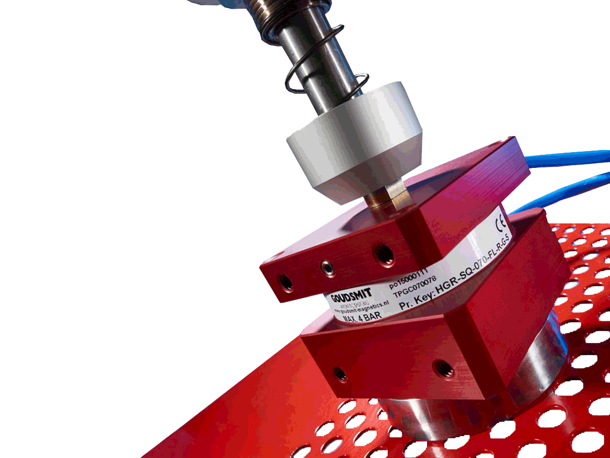 Magnetic gripper steel perforated plate red