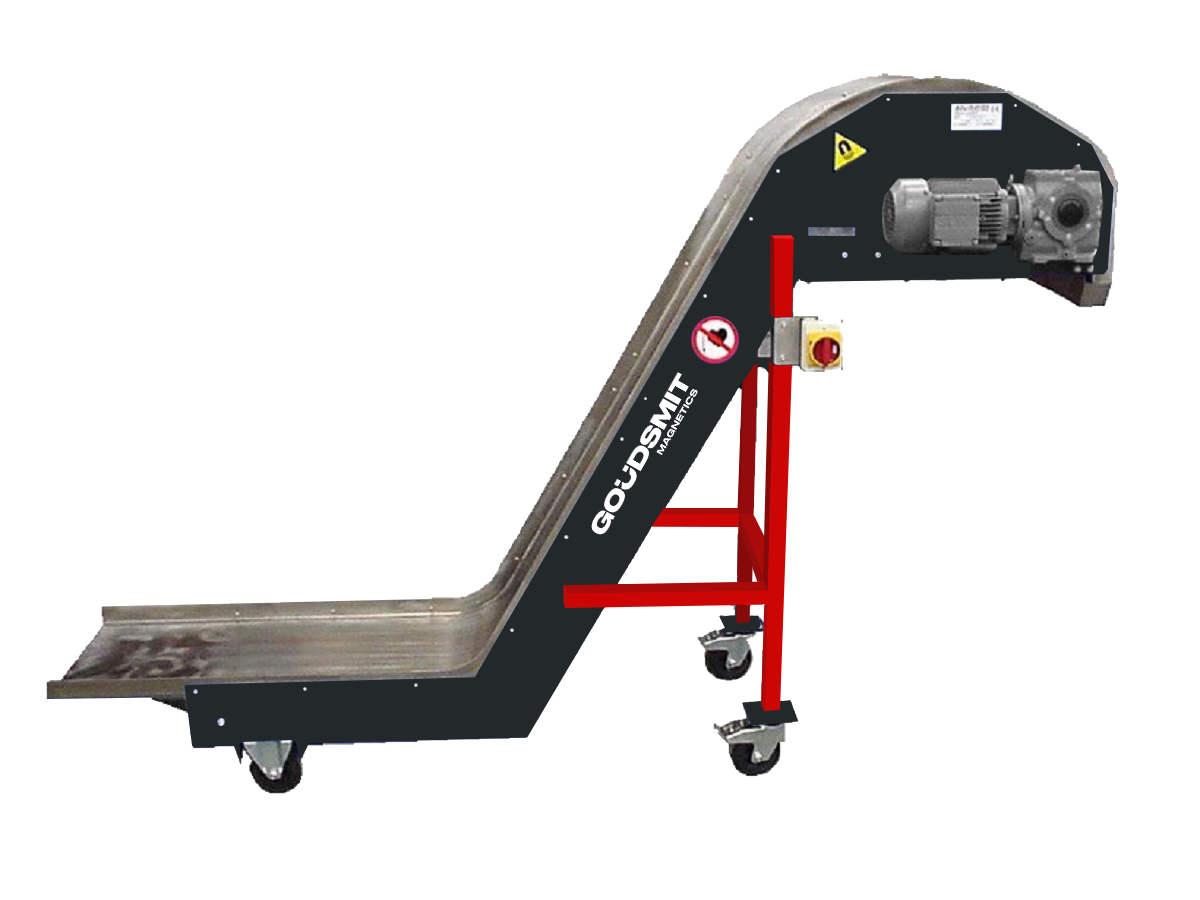 Magnetic slide conveyors type Big neck for transporting long steel parts