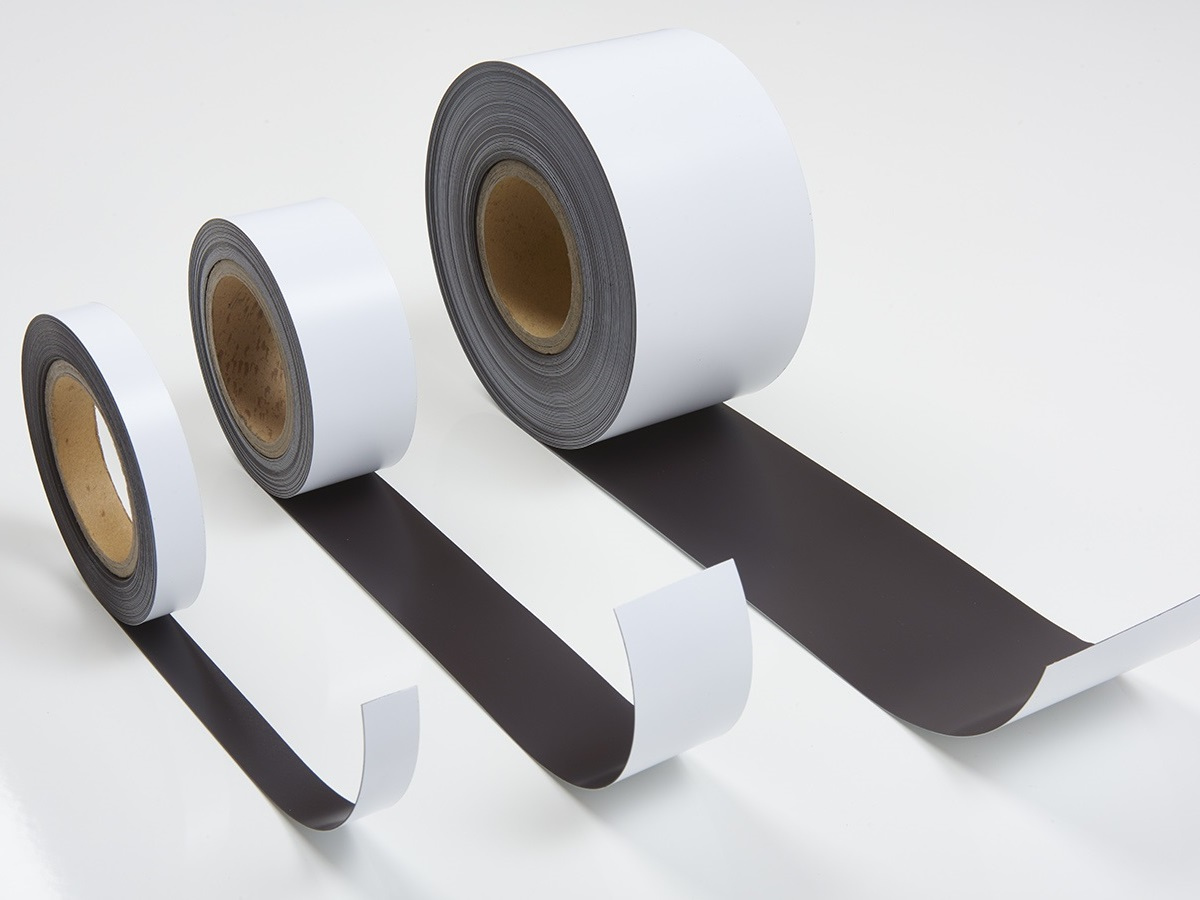 white magnetic tape on rolls