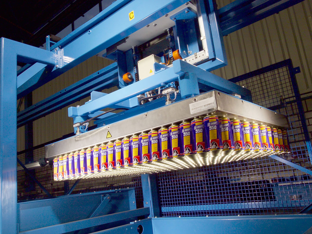 Palletizing magnet in gantry crane